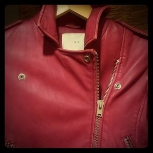 IRO Genuine Leather Jacket Red Rocker Biker Sz 34
